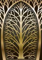 portão de árvore forjado dourado