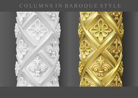 colunas clássicas em ouro e branco