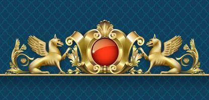 alto relevo dourado com grifo e jóia vermelha