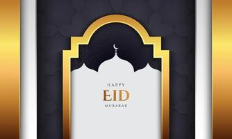 design de eid mubarak com estilo de luxo dourado vetor