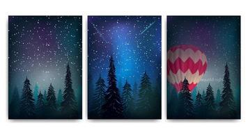 coleção de capas de paisagem noturna de floresta de pinheiros vetor