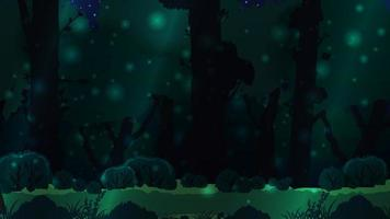 floresta escura mágica com grandes árvores vetor