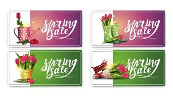 banners horizontais roxos e verdes de venda de primavera