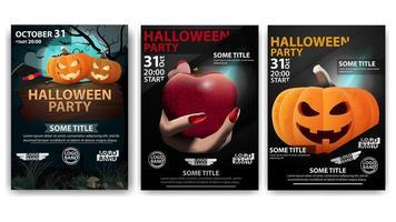 cartazes de halloween com abóboras e mão com maçã