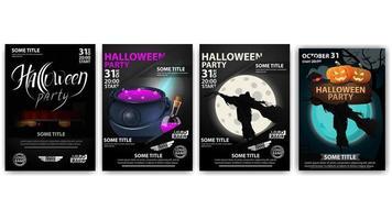 cartazes de festa de halloween com caldeirão e espantalho