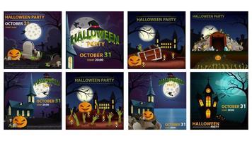 conjunto de cartaz quadrado de festa de halloween