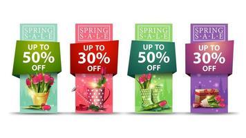 banner vertical de venda de primavera definido em várias cores