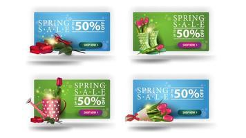 banners de venda primavera com bordas arredondadas e botões vetor