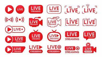 conjunto de símbolos de transmissão ao vivo vermelho vetor