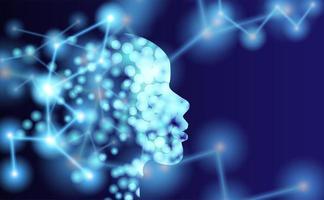 contorno da cabeça humana com moléculas