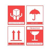 conjunto de design de rótulo frágil vetor