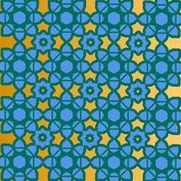 azul, ouro e verde padrão islâmico design