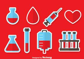 Vector de ícones de elementos de doação de sangue
