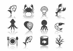 Vetor de ícones de frutos do mar grátis