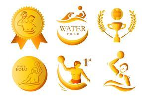 Pacote de vetores de medalhas douradas de pólo aquático