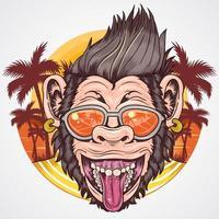 design de chimpanzé de festa de verão vetor