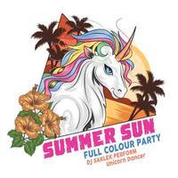 cartaz de festa de verão de cor cheia de unicórnio