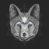 design de obras de arte cabeça de lobo vetor