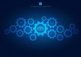 mecanismo de tecnologia de engrenagens e ícones em azul brilhante vetor