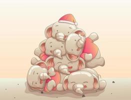 grupo de elefantes bebê fofo juntos