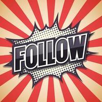 '' seguir '' balão de quadrinhos