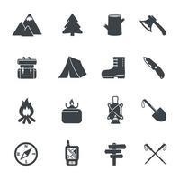 ícones de equipamento de caminhadas
