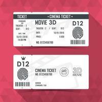 conjunto de ingressos de cinema