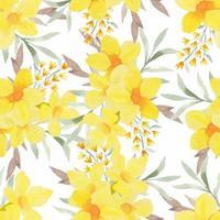 amarelo aquarela tropical floral padrão sem emenda vetor