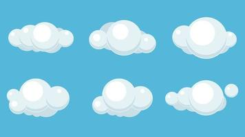 conjunto de nuvens brilhantes dos desenhos animados vetor