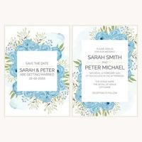 conjunto de convites de casamento com decoração rosa azul aquarela