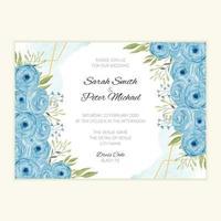cartão de convite de casamento em aquarela com rosas azuis