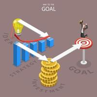 caminho para o design plano isométrico de objetivo vetor