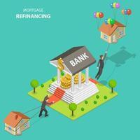 projeto isométrico de refinanciamento de hipoteca