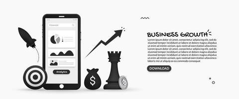 visualização de dados financeiros em design móvel vetor