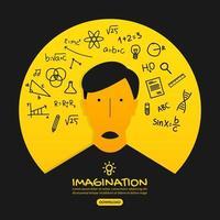 design de idéia criativa com homem de pensamento inteligente