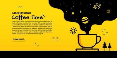 scnee de espaço fluindo da xícara de café