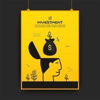 saco de dinheiro flutuando sobre cartaz de investimento de cabeça humana vetor