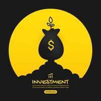 lançando bolsa de dinheiro com projeto de investimento da planta