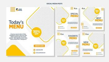 modelos de mídia social de venda de comida de diamante laranja vetor