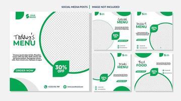 modelos de mídia social de venda de comida de círculo branco e verde