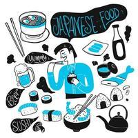 homem desenhado mão e comida japonesa vetor