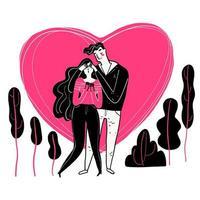 casal desenhado de mão com coração rosa atrás deles vetor