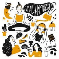 mulheres de mão desenhada e itens de felicidade de verão vetor