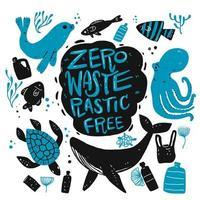 animais marinhos desenhados à mão e itens de reciclagem vetor