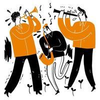 músicos tocando trompete, saxofone, clarinete vetor