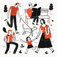 coleção de pessoas desenhadas mão no parque vetor