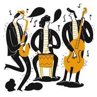 músicos tocando música vetor