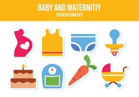 Conjunto de ícones personalizados de bebê e maternidade vetor