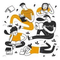 pessoas lendo no parque vetor