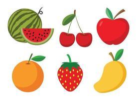 conjunto de frutas dos desenhos animados vetor